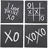 EMPORIUM HDCOE481 XO Coasters Set of 4, Black/White