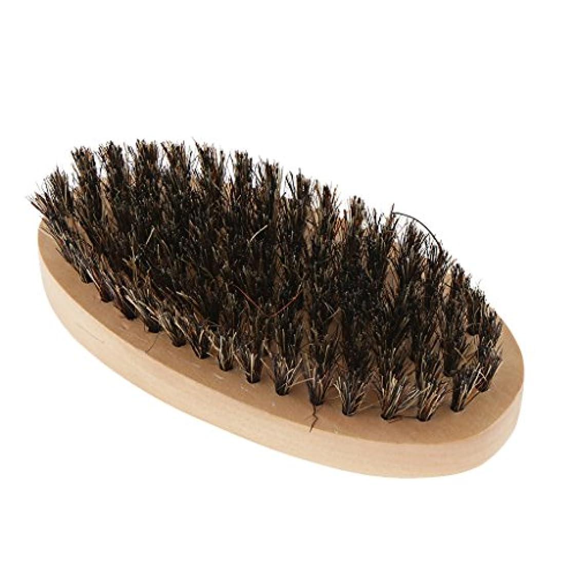 ラケット魔女保守的ビアードブラシ 男性 ひげブラシ 口ひげ 整髪スタイリング 木製のハンドル