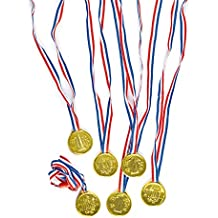 Gold Winning Plastic Medals with Ribbon 35mm, Party Bag Fillers for Boys & Girls, Children's Prizes, Motivational Reward - Pack of 6