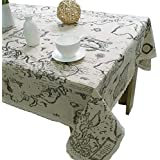 Kxtffeect World Map Design Linens Table Cloth Lace Side Dining Table Cover for Home Kitchen Wedding Party Cafe Table Decoration (55x70.7)