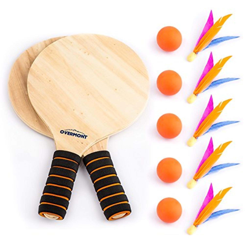 Overmont 羽子板 羽根ラケット ファミリーゲーム 三本羽根 ビーチボール