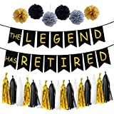 LOLOAJOY THE LEGEND HAS RETIRED Party Decorative Banner Party Supplies Decoration Kit With Gold and black Tassel Garland Tissue Paper Pom Poms