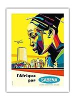 サベナによってアフリカ - セバナ・ベルギー・世界航空 - ビンテージな航空会社のポスター によって作成された ソーンズ・ハーメルン c.1960 -プレミアム290gsmジークレーアートプリント - 46cm x 61cm