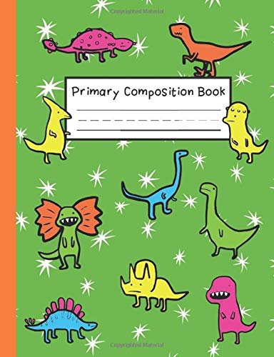 Primary Composition Book: Story Notebook K-2 | Half and Half Dashed Midline Ruled and Picture Space | Standard Composition Size for Easy Backpack Fit | Goofy Dinosaurs