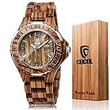CucolメンズZebra Wood Watchアナログクォーツ日付表示Geometricalリンク木製腕時計withギフトボックス スタイル2