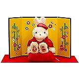 還暦に贈る、干支のバニー 松竹梅金屏風 緋毛氈 赤色の座布団 赤のちゃんちゃんこを着たうさぎ プティルウ製