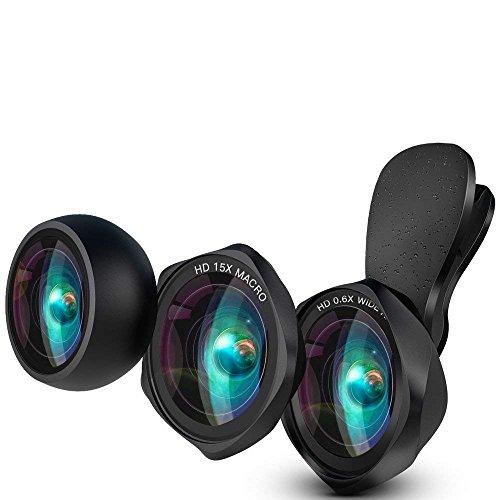 スマホ用カメラレンズ クリップ式レンズ 広角レンズ 魚眼レンズ マクロレンズ 自撮りレンズ カメラレンズキット-Luxsure 2018 新作 iphone Android 全機種対応 簡単装着 3in1 二年保証