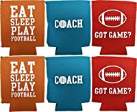 のセットスポーツCanとボトルクーラー。バスケットボール–football- Fits Most缶と瓶。ネオプレンは、ボトルクーラーPerfect for anyチーム、イベント、パーティーまたは賞。 ブルー
