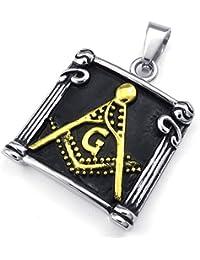 [テメゴ ジュエリー]TEMEGO Jewelry メンズステンレススチールヴィンテージペンダントフリーメーソンフリーメーソンのネックレス、黒ゴールデン[インポート]