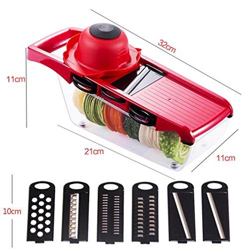 スライサー セット 安全ホルダー付き 7機能 千切り器 おろし器 調理器セット キッチン用品 切れ味抜群 赤