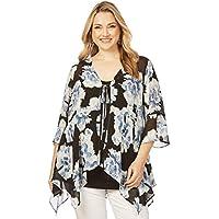 Beme Flutter Sleeve Mono Print Kimono - Womens Plus Size Curvy