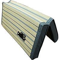 かわいいネコの刺繍入り「セージ」い草折畳クッション/43x43cm/ブルー