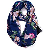 Elzama Infinity Loop Scarf with Hidden Zipper Pocket Printed Patterns for Women - Travel Wrap