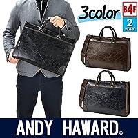 ビジネスバッグ 合皮 2WAY 40cm A4ファイル ANDY HAWARD #26561 (黒)