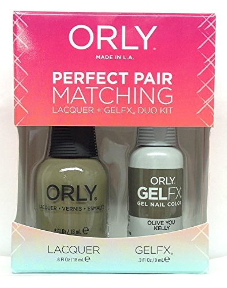 遠足エンドテーブルディプロマOrly - Perfect Pair Matching Lacquer + GelFX Kit - Olive You Kelly - 0.6 oz / 0.3 oz