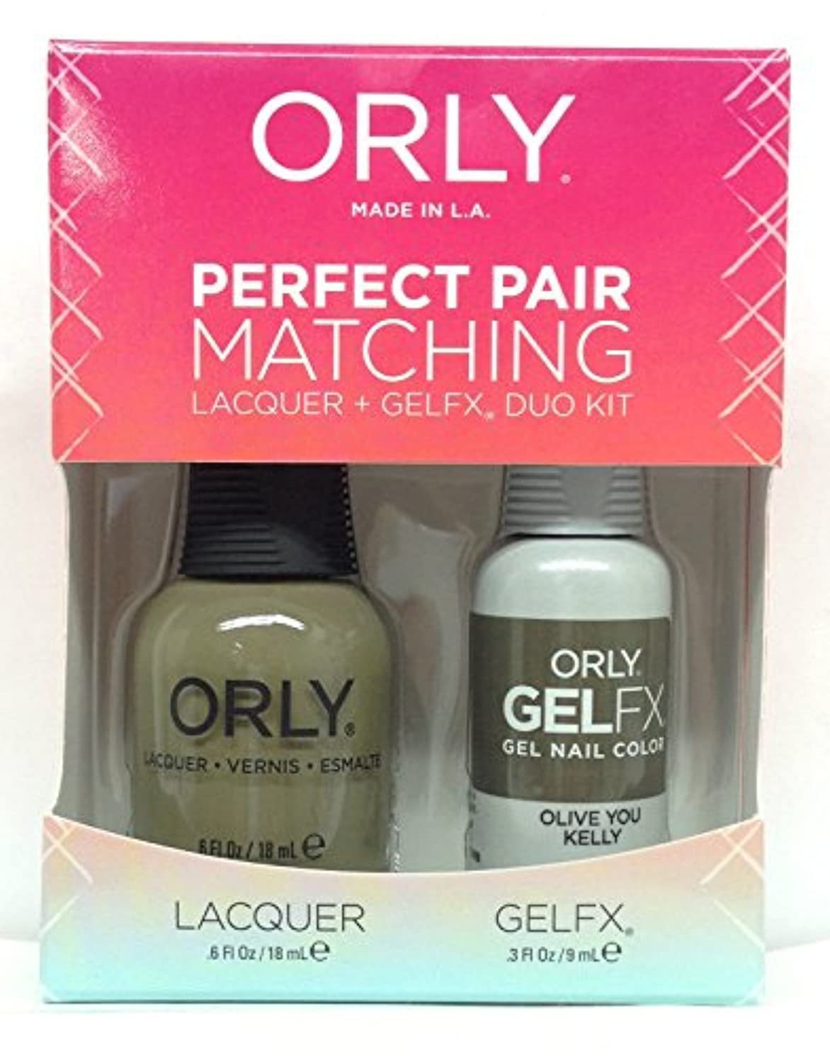 繊維真向こう位置するOrly - Perfect Pair Matching Lacquer + GelFX Kit - Olive You Kelly - 0.6 oz / 0.3 oz