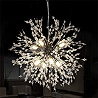 Ganeed 花火シャンデリア LEDクリスタルモダンペンダント照明 8つのライト付き ステンレススチール 天井照明器具 ペンダントランプ リビングルーム ベッドルーム レストラン 直径15.7インチ クローム