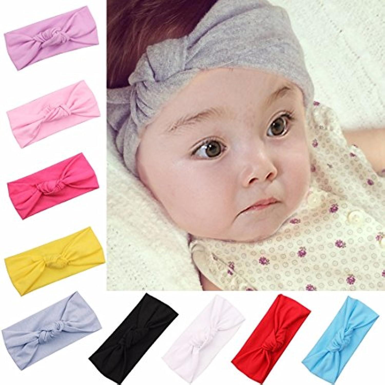 feeshow 9ピースMixカラーベビーGirls幼児用伸縮性ヘッドバンドターバンカチューシャノット