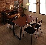 ヴィンテージカフェ風ダイニング4点セット 天然木×スチール脚 【テーブル1(150cm幅)+チェア2+ベンチ1】