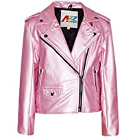 Kids Jacket Girls Designer's PU Leather Jackets Zip Up Biker Coats 7-13 Years