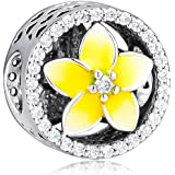 CKK DIY Flower Beads Fits Pandora Bracelets Charm 925 Sterling Silver Pale Yellow Enamel Plumeria Floral Openwork Charms for