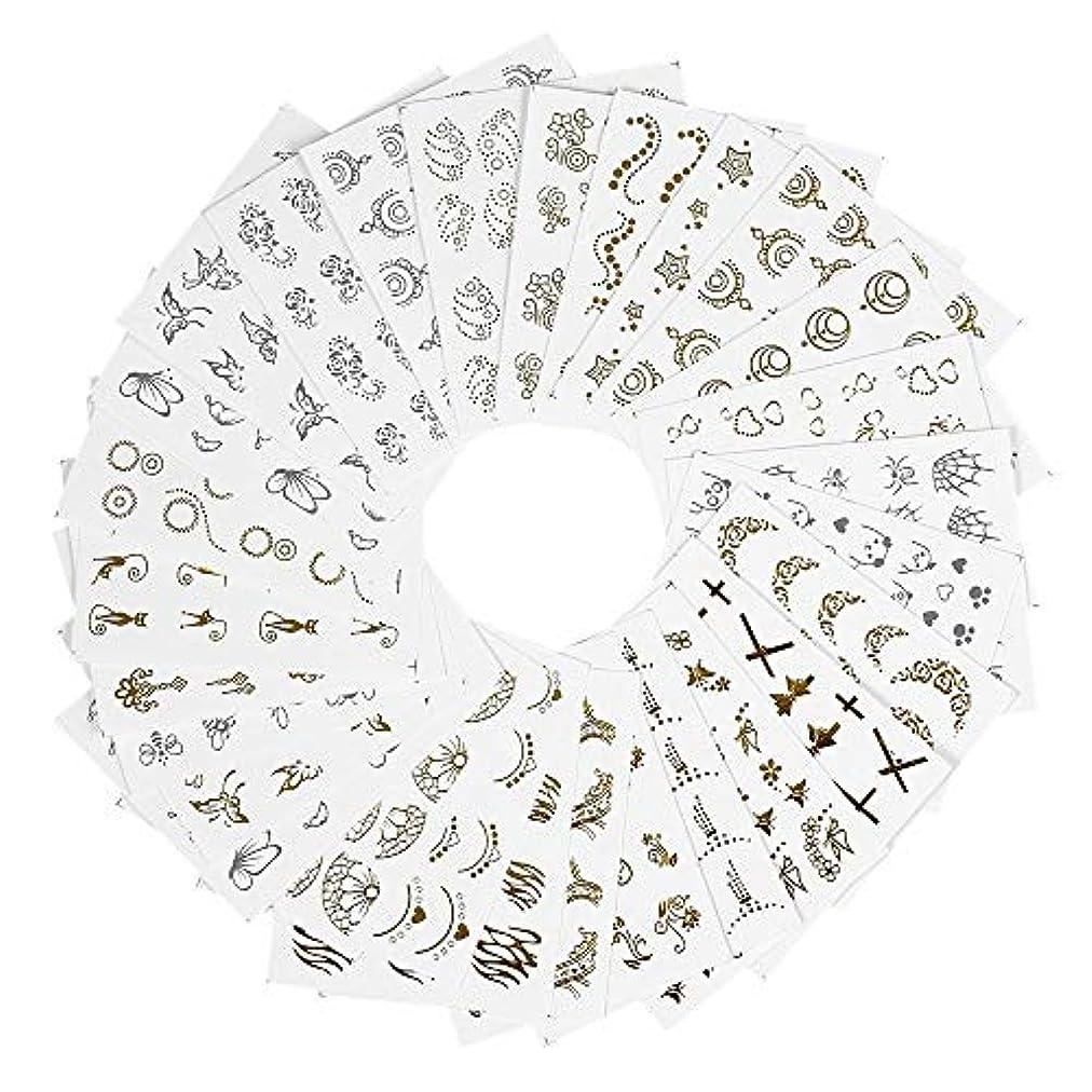 摂動なに密度ネイルパーツ ネイルシール ウォーターネイルシール ネイルステッカー セルフネイル 混合 バタフライ 花柄 ゴールド DIY 貼り紙 ジェルネイル用品 アクセサリー レディース 30枚セット ハンドメイド材料
