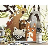 Wuyyii カスタム壁紙北欧手描きのかわいい小動物子供部屋背景壁家の装飾テレビ3Dの壁紙