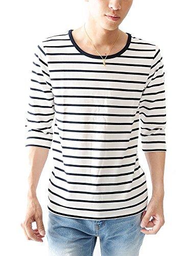 白×紺U M (ベストマート)BestMart マリン ボーダー 7分袖 七分袖 ストレッチ スリム Tシャツ カットソー メンズ クルーネック ボートネック Uネック Vネック おしゃれ シャツ ボーダーTシャツ Tシャツボーダー 無地 605072-005-947