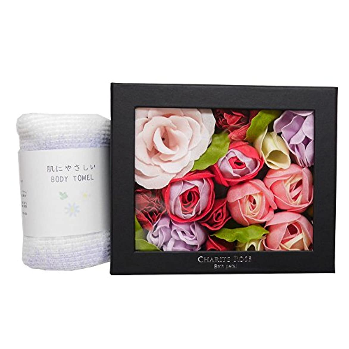 ローズ バスペタル グロスローズ ピンク ボディタオル セット /バラ お花 入浴剤 母の日 お祝い 記念日 贈り物 プレゼント