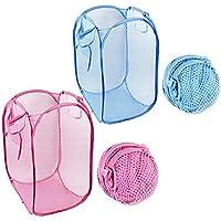 OUTEYE メッシュ 洗濯かご 小さく折りたためて ポップアップ 使い方は色々 服収納 おもちゃ入れなど 洗濯物用 コレだけバッグ 持ち運び便利 2枚セット