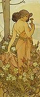 絵画風 壁紙ポスター (はがせるシール式) アルフォンス・ミュシャ 連作 花 4部作 カーネーション 1898年 4-flowers アールヌーヴォー キャラクロ K-MCH-021S2 (290mm×705mm) 建築用壁紙+耐候性塗料