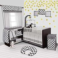 Bacati Stripes/Dots 10-Piece Nursery-In-A-Bag Crib Bedding Set with Long Rail Guard Black/White [並行輸入品]
