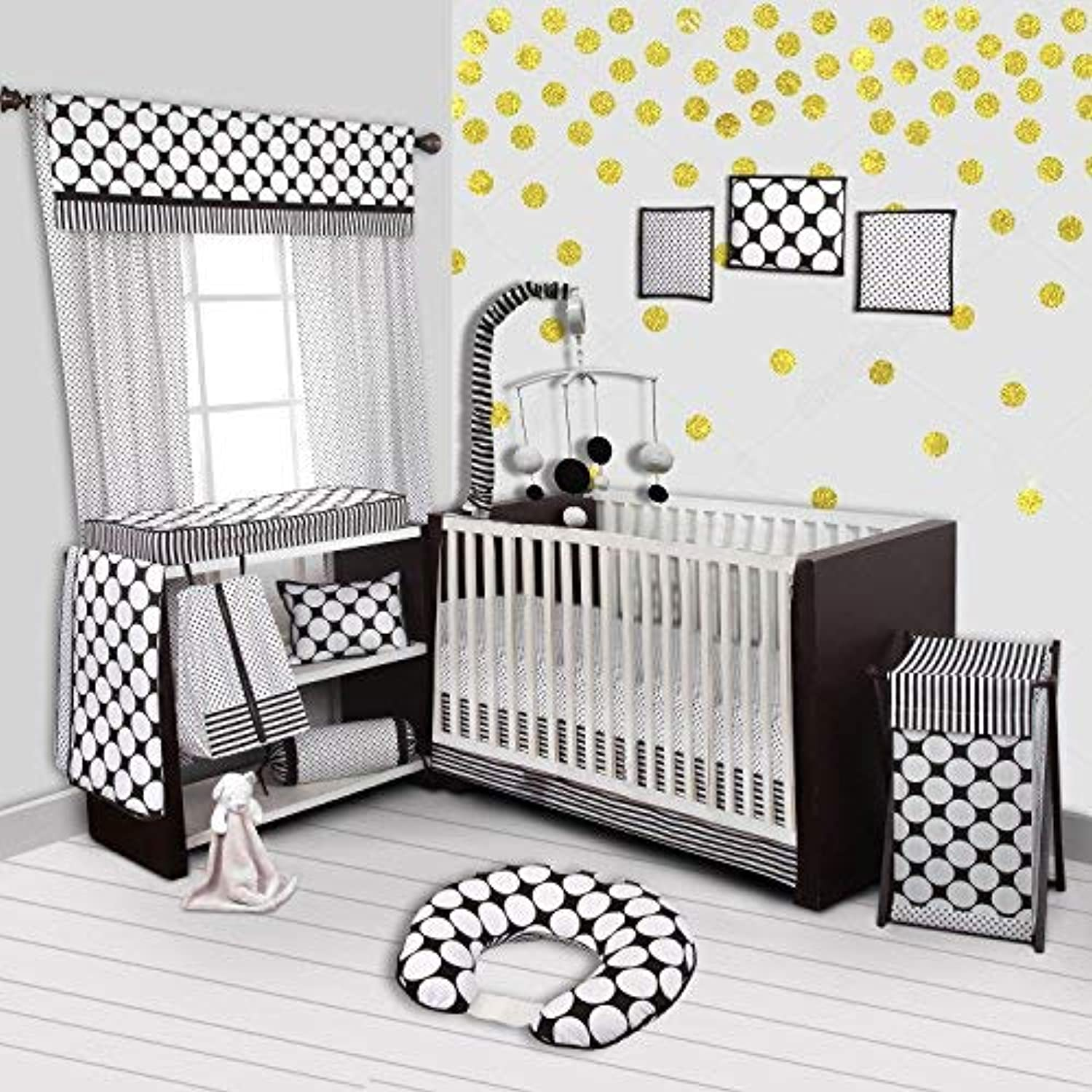Bacati Stripes/Dots 10-Piece Nursery-In-A-Bag Crib Bedding Set with Long Rail Guard Black/White [並行輸入品]