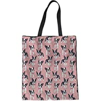 HUGS IDEA Flower Dog Print Linen Tote Bag Shoulder Bag Travel Handbag for Women