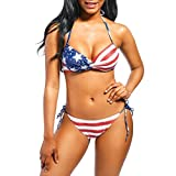 fimkaulレディースホルターフラグプリントハイウエスト水着Tied Side Beachwear Bathing Suit 4th of July Independence Day L レッド