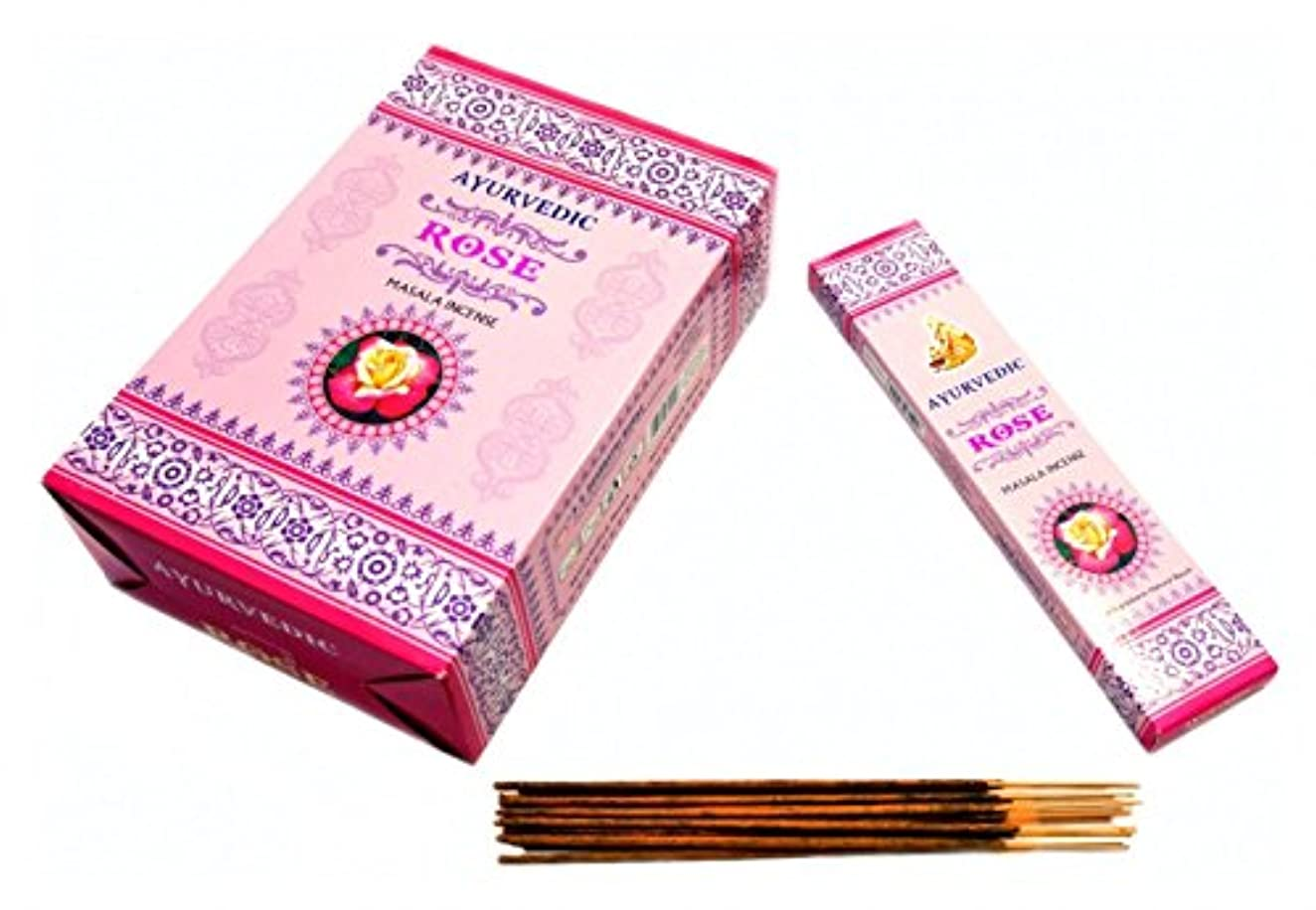 飼い慣らす忘れっぽいに渡ってAyurvedic Rose Masala Incense Sticks Agarbatti ( 12パックX 15 Sticks各)