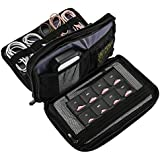 ProCase Travel Gadget Organizer Bag, Portable Tech Gear Electronics Accessories Storage Carrying Case Pouch for Cords USB Cables SD Cards MP3 Player Charger Hard Drive Power Bank -(Double Layer,Black)