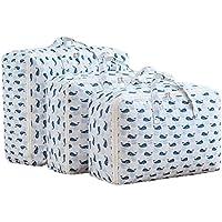 青い鯨パターン3PCS収納袋コットンリネンポータブル折りたたみ防水コットンキルトストレージ衣類移動仕上げ大型荷物梱包袋3個/セット