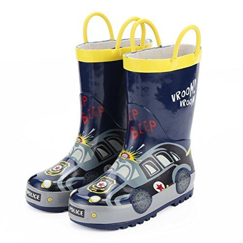 [KushyShoo] 長靴 男の子 レインブーツ キッズ ハンドル・収納袋付き 雨靴 女の子 男の子 男女兼用 梅雨対策 アウトドア 通園・通学用 RNB-7M-JP