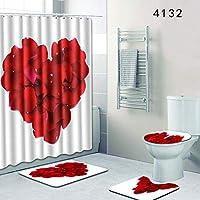 ACHICOO 敷物カバー シャワー カーテンバス マット トイレ敷物カバー 浴室 愛情 ハート柄 4点セット 4132