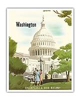 ワシントンD.C. - チェサピーク&オハイオ鉄道 - 米国議会議事堂 - ビンテージな鉄道旅行のポスター によって作成された ベルン・ヒル c.1950 - アートポスター - 41cm x 51cm