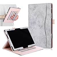 【E-COAST】HUAWEI MediaPad T5 10/HUAWEI MediaPad M5 Lite 10 専用ケース カード収納可能 スタンド可能 ハンドストラップ付 タッチペン収納可能 全保護タイプ (グレー)