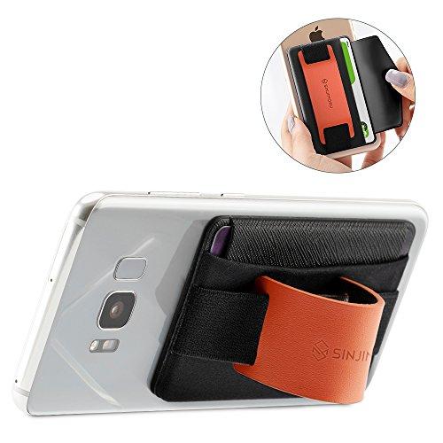 Sinjimoru スマホスタンド カード入れ、落下防止 ハンドストラップにどこでも楽に動画な視聴できるレザースタンド、運転免許証、クレジットカード SUICAなどカード入れできる 手帳型 カードホルダー。ンジポーチB-GRIP オレンジ。