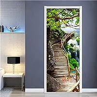 Lcymt 3Dドアの壁紙滝自然風景ドアステッカー写真壁の壁画デ3D Pvc自己接着防水家の装飾-200X201Cm