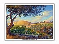 オーク・バレー・ヴィンヤード - ワインカントリーアート によって作成された カーン・エリクソン - アートポスター - 23cm x 31cm