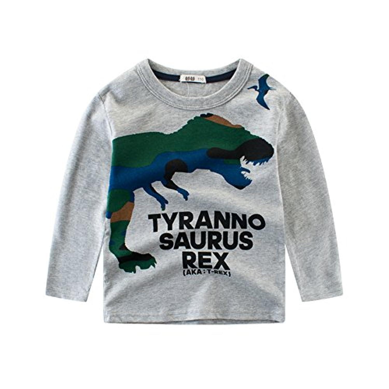 PANCY 子供服 春秋 長袖 Tシャツ キッズ トレーナー 男の子 綿100% 恐竜柄 かわいい