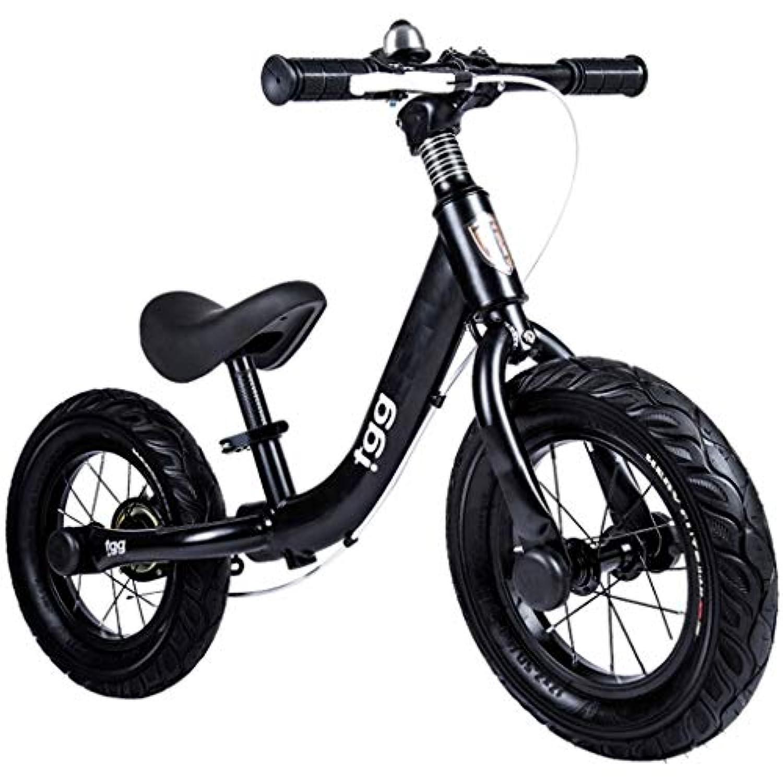 ZAQ バランスバイク ハンドブレーキ付き スチール製 32cm (12インチ) エアタイヤ プッシュ 自転車 調節可能なシート付き ブラック