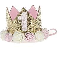 Liebeye 王冠 誕生日 クラウン 子供 赤ちゃん ローズ デジタルクラウン ヘッドバンド 誕生日 髪アクセサリー
