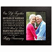 "60th for her him 60 Year Wedding for Couple Parents Celebration Picture Frame Holds 4x6 Photo 8"" H X 10"" W (Black) [並行輸入品]"