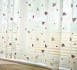 3色のバラ柄が可愛いレースカーテン (幅100×丈133cm(2枚組))
